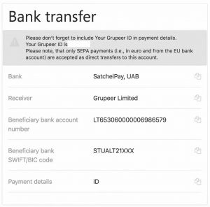 grupeer bank transfer