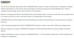 crowdestor investment summary