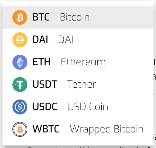 Hodlnaut depositable cryptos